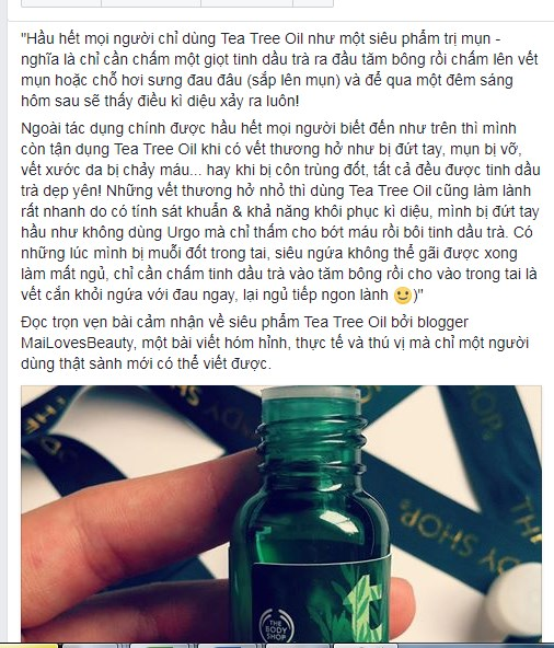 Tinh dầu trị mụn tea Tree Oil The Body Shop