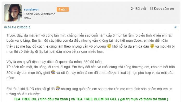 Tinh dầu trị mụn tea Tree Oil The Body Shop