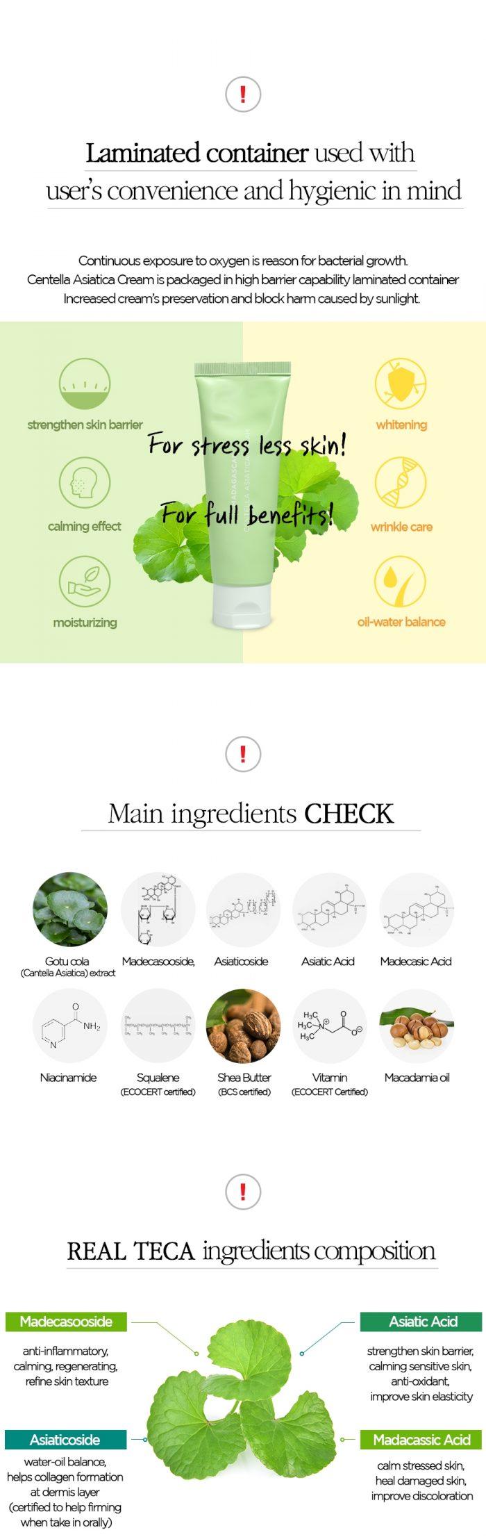Kem dưỡng da rau má Madagascar Centella Asiatica Cream 75ml Skin 1004