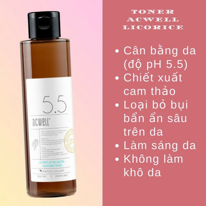 Toner cam thảo Acwell Licorice pH Balancing Cleansing