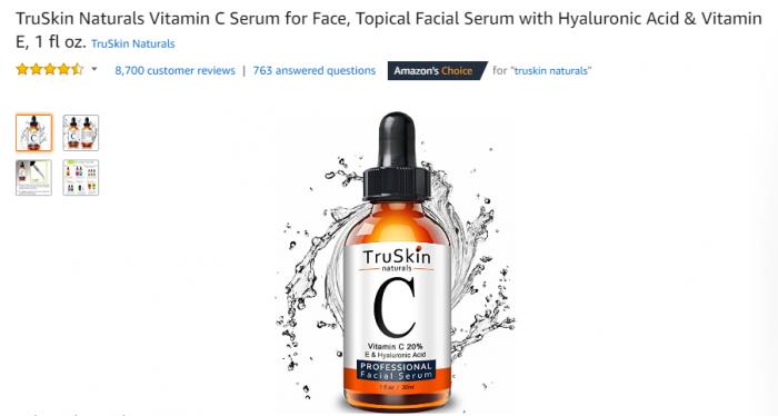 TruSkin Naturals Vitamin C 20% E & Hyaluronic Acid