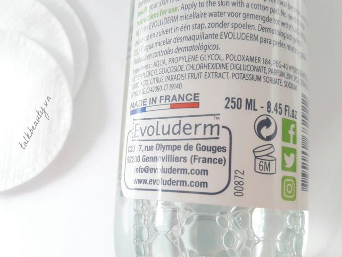Nước Tẩy Trang Evoluderm Eau Micellaire 500ml - Pháp