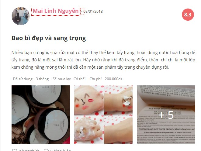 Kem Tẩy Trang The Face Shop Rice Water Bright Cleansing Cream