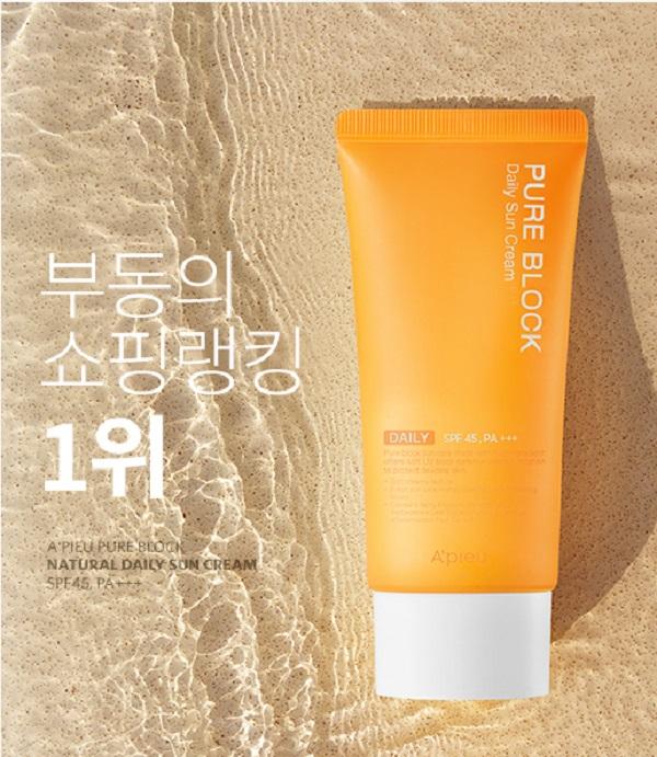 Kem chống nắng A'pieu Pure Block Natural Daily Sun Cream SPF45 PA+++