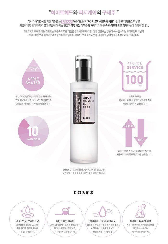 Tẩy Da Chết Hóa Học Cosrx AHA7 Whitehead Power Liquid