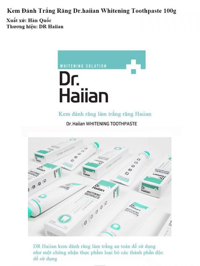 Kem Đánh rắng Dr.Haiian Whitening Toothpaste