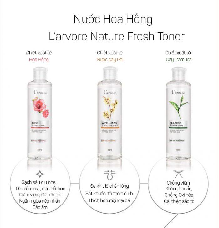 Nước Hoa Hồng L'arvore Nature Fresh Toner