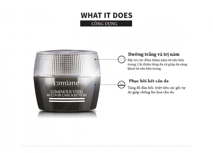 Kem trị Nám Camiane Luminous Vital W-Cover Care Solution Cream