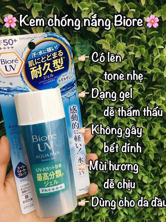 Kem Chống Nắng Biore UV Aqua Rich Watery Gel Spf50 pa++++