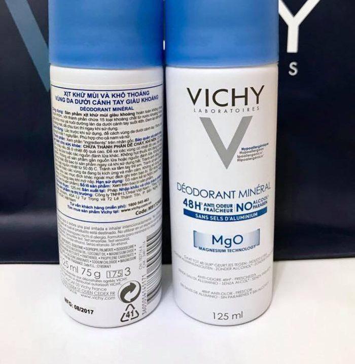 Xịt khử mùi Vichy Déodorant Minéral