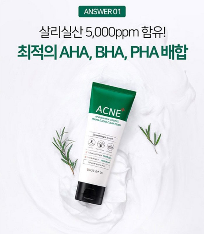 Sữa rửa mặt Some By Mi AHA-BHA-PHA 30 days Miracle Acne Clear Foam