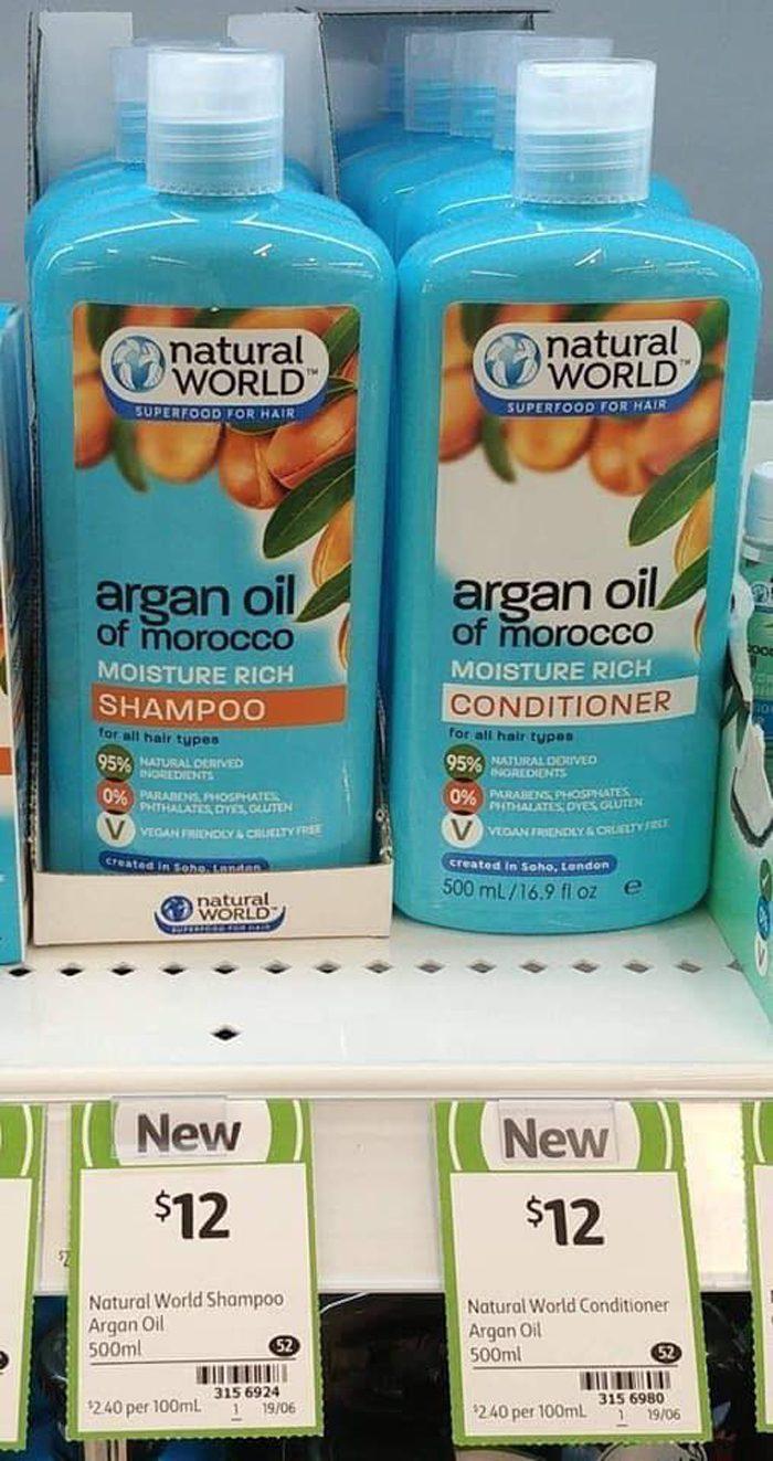 Dầu gội Natural World Argan Oil of Morocco moisture rich