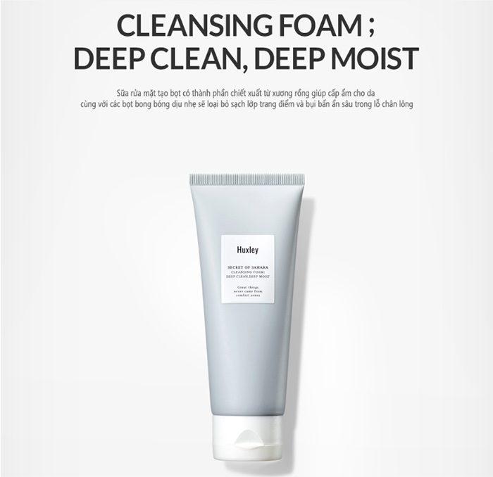 Sữa rửa mặt Huxley Cleansing Foam; Deep Clean, Deep Moist