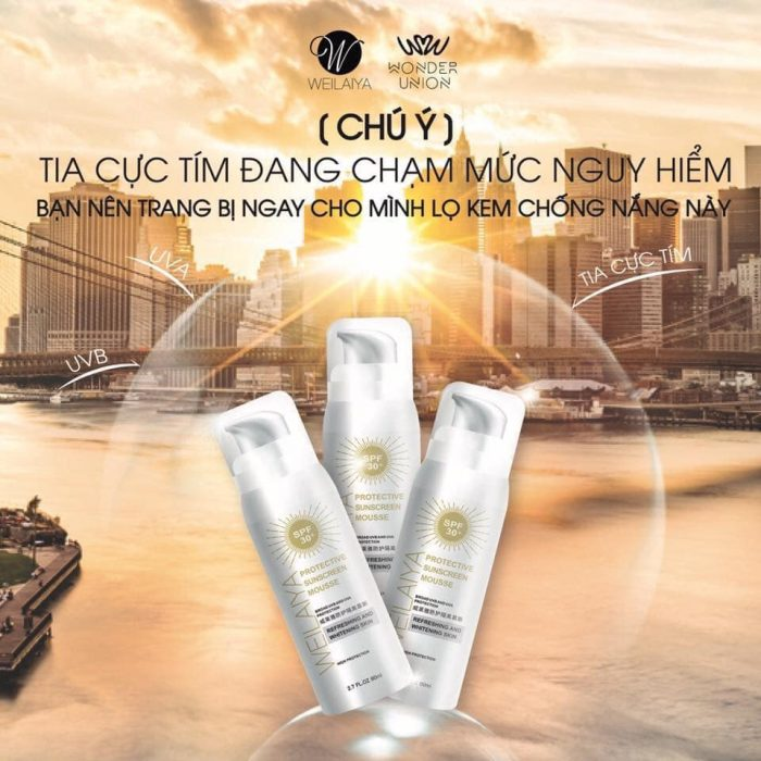 Kem chống nắng Weilaiya Protective SUNCREEN MOUSSE SPF 30+