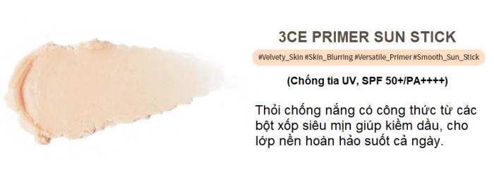 Kem Chống Nắng 3CE Primer Sun Stick SPF50+/PA++++
