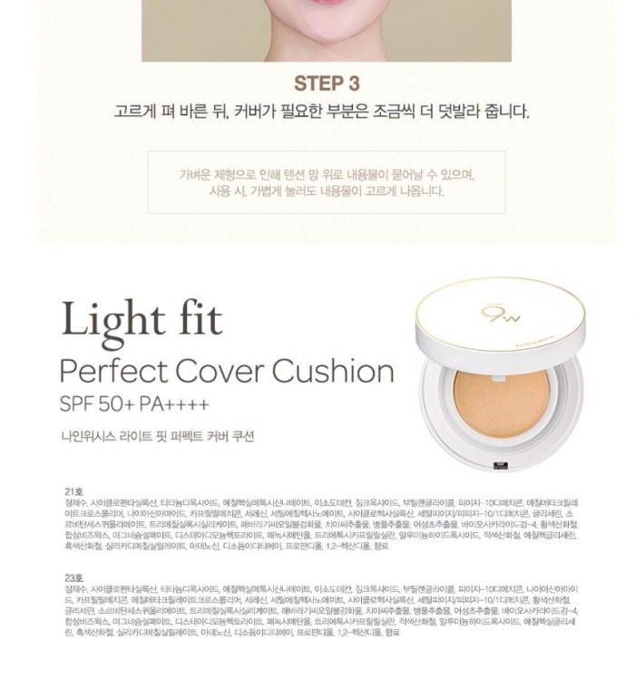 Phấn Nước 9Wishes Light Fit Perfect Cover Cushion Spf 50+ PA++++
