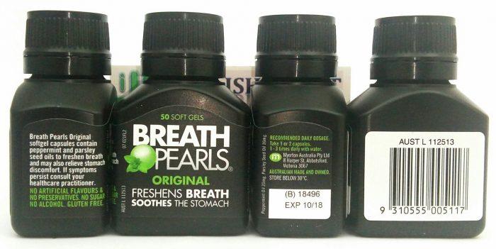 Viên uống thơm miệng Breath Pearls Original Freshens Breath Soothes The Stomach