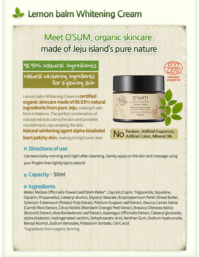 Kem dưỡng trắng O'sum Organic Lemon Balm Whitening Cream