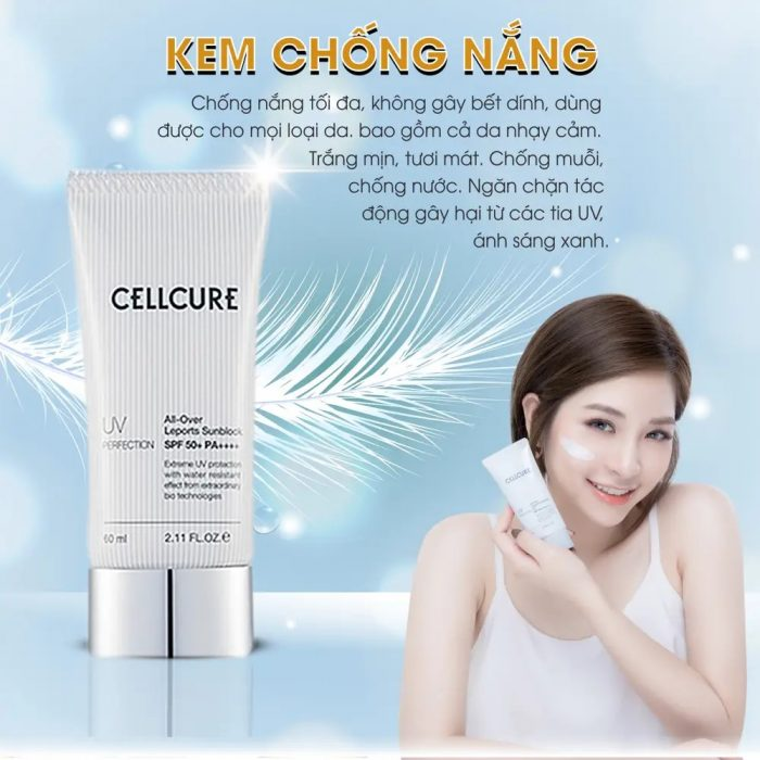 Kem Chống Nắng CellCure UV Perfection All Over Leports Sunblock SPF50+ PA +++ width=