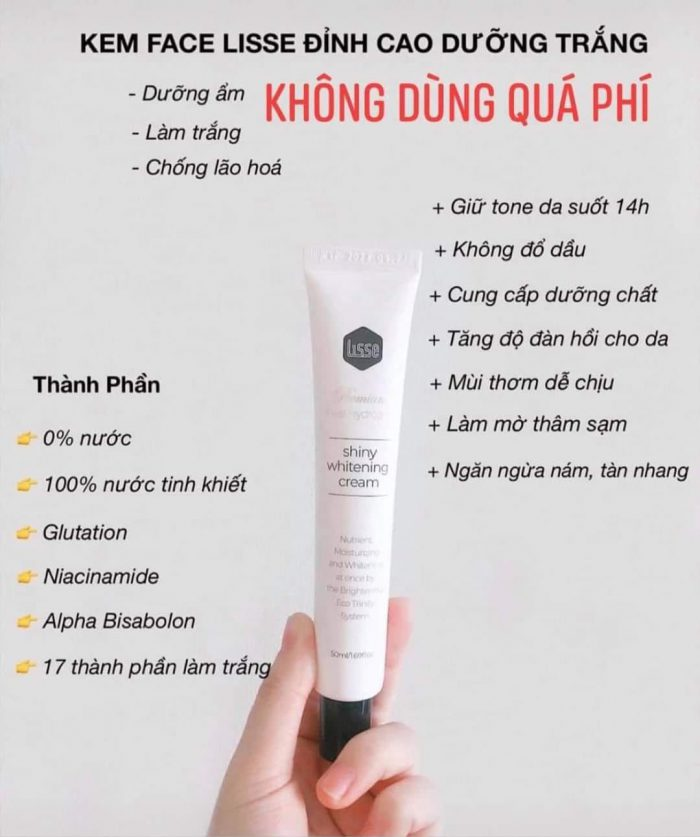 Kem Trắng Da Lisse Real Hydrogen Shiny Whitening Cream