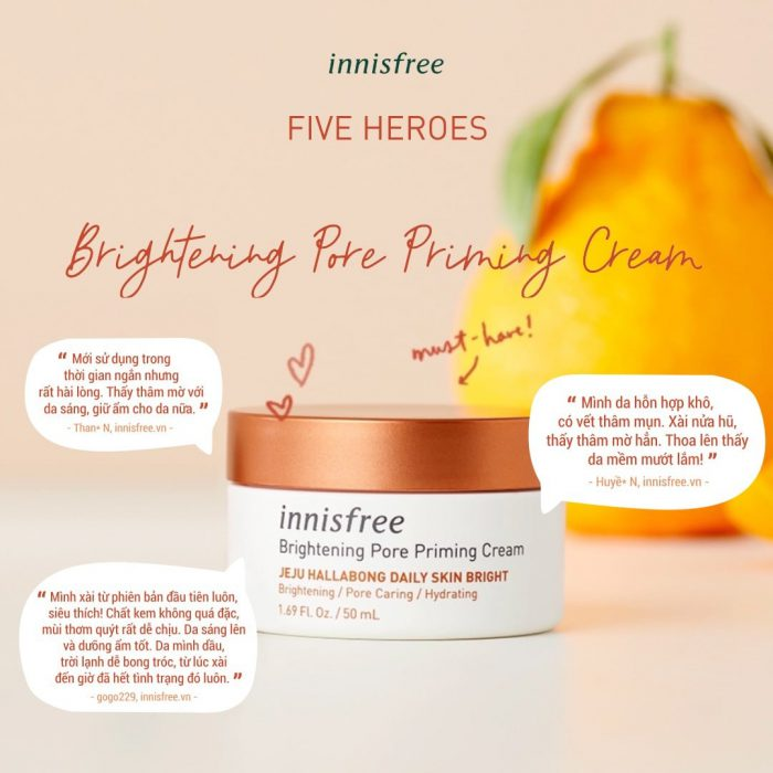 Kem Dưỡng Innisfree Brightening Pore Priming Cream