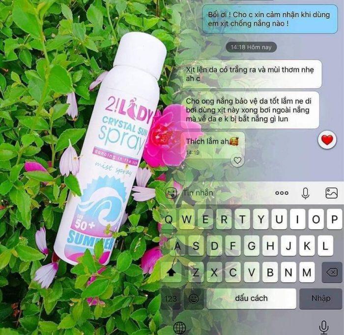 Xịt Chống Nắng 2!Lady Crystal Sun Spray